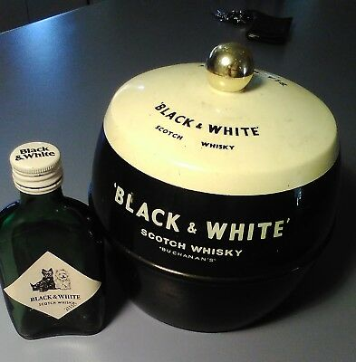 VINTAGE BLACK & WHITE SCOTCH WHISKY ICE BUCKET - Made in England