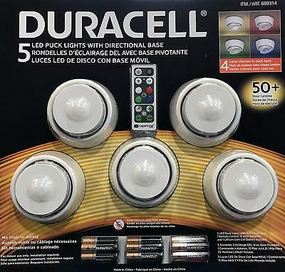 5pc Duracell Directional Base LED Wireless Puck Lights with Remote & Batteries