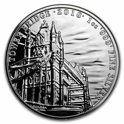 2018 GB 1 oz. Silver Landmarks of Britain (Tower Bridge) Coin - Limited 50,000