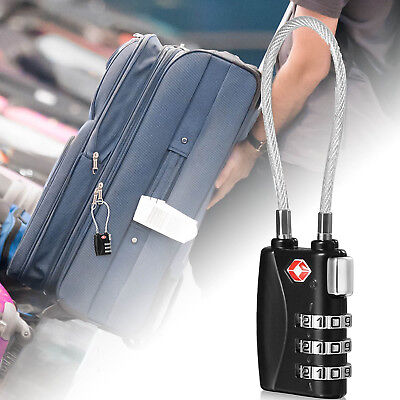 TSA Approved Luggage Lock - Travel Lock with Long Steel Cable - US Seller