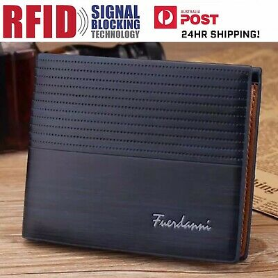 Mens Navy Blue Leather RFID Blocking Anti Theft Wallet ! AU STOCK !