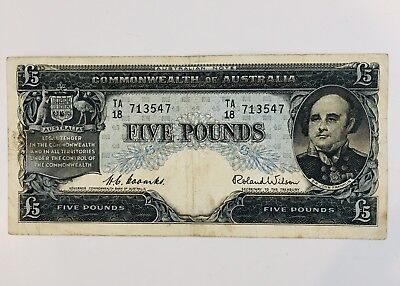 Australian 5 five pound paper banknote Coombs/Wilson