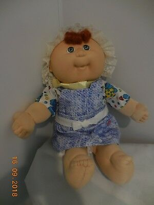 Vintage Cabbage Patch Baby - 1988 By Coleco, Cpk Dress, Early Htf Red Topknot