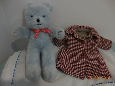 VINTAGE AUSTRALIAN JAKAS TEDDY BEAR - GOOD CONDITION - WITH HIS OVERCOAT, 32cms