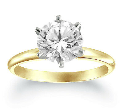 1.07 CT Round DIAMOND E/SI2 CERTIFIED SOLITAIRE ENGAGEMENT RING 18K YELLOW GOLD