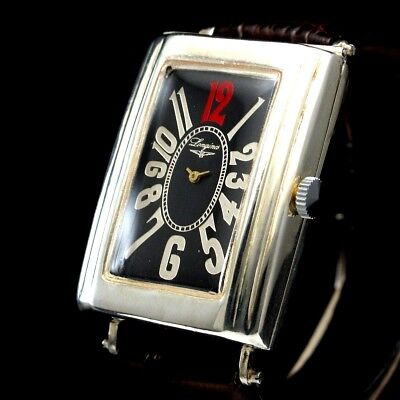LONGINES Vintage Men's Wristwatch Silver Art Deco Black Mens Wrist Watch Swiss
