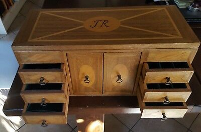 Vintage Wooden Mahogany/Inlaid  Organiser  Storage Jewellery multi compartments