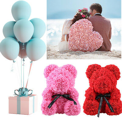 Romantic Artificial Rose Flowers Bear Wedding Party Decor Valentine's Day Gifts
