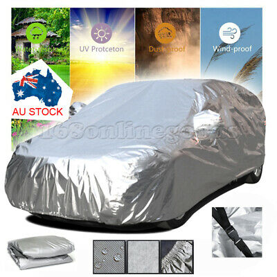 Universal L Size 3Layer Heavy Duty 100% Waterproof Car Cover Cotton Lining Strap