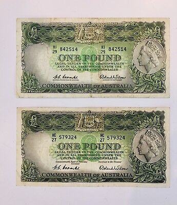 2 x Australian 1 one pound paper banknotes Coombs/Wilson