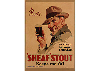 Tooths Sheaf Stout Keeps Me Fit! 325x470mm photoposter beer bar hat 1950s