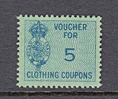 VOUCHER FOR 5 CLOTHING COUPONS 1940s -BOARD OF TRADE- GREAT BRITAIN- CINDERELLAS