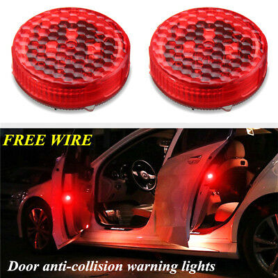 2Pcs Red Wireless Car Door LED Opened Warning Flash Light Anti-collid Accessory