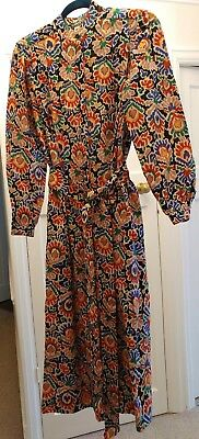 Vintage LIBERTY All-Wool Dress with Belt, Size 12, Black/Multi