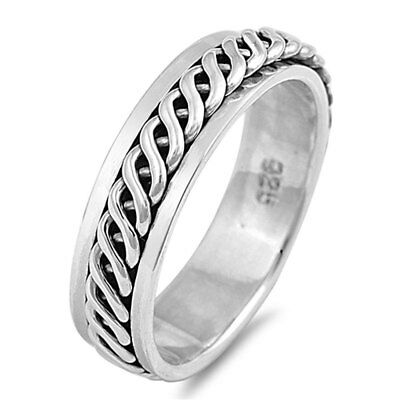 Men Women 6mm 925 Sterling Silver Band Celtic Spinner Ring / Gift Box size 13