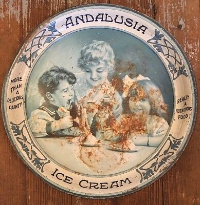 Antique Vtg Andalusia Ice Cream tin advertising tray Early 1900's