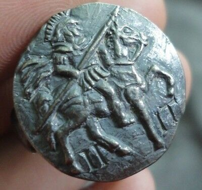 Ancient Roman Senatorial Legionary Silver Ring Warrior CAVALRY Legio II Italica
