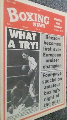 MAY 1ST  1987 BOXING NEWS DAVE McAULEY V FIDEL BASSA/ABA FINALS PREVIEW