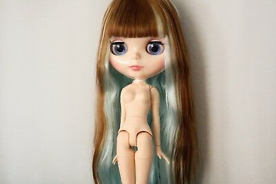 """12"""" Neo Blythe Doll with Outfit - Joint Body Beige Skin Brown and Blue Hair"""