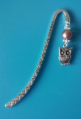 Metal Bookmark With Owl Charm In Organza Gift Bag New
