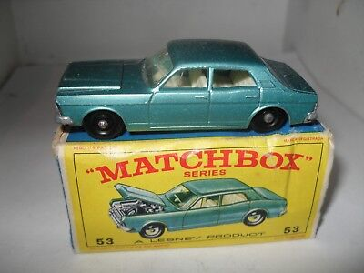 MATCHBOX LESNEY RW 1-75 No 53 FORD ZODIAC EXCELLENT PLUS IN POOR BOX