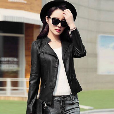 Women PU Leather Jacket Solid Color Long Sleeve Motorcycle Outwear Coat NZ