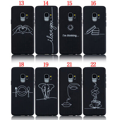 Simple Line Draw Soft TPU Back Case Cover For Samsung S7 S8 S9 Plus A7 2018 J510