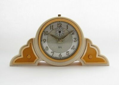 Very Nice French Bakelite Art Deco Alarm Clock by SMI. Good Cond & Working Order