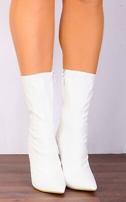 White Stilettos Pointed Sock Stretch High Heels Ankle Boots Shoes Size 3 4 5 6 7