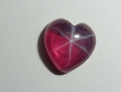 Transparent Star Ruby Heart 8x8 mm Flat Cabochon 6 Rayed Lab-created Stone