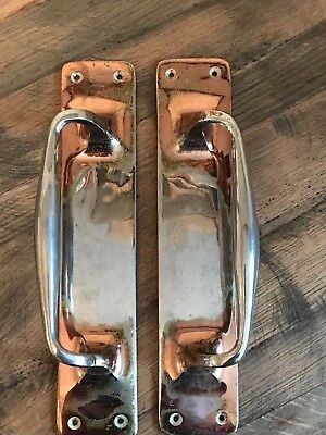 Pair Large Solid Brass Copper Plated Pub Shop Cafe Hotel Door Handles Pulls a