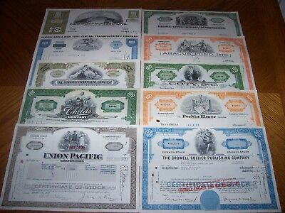 Lot of 10 Different Stock Certificates.Nice Vignettes TL9