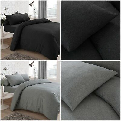 Jersey Melange Plain Yarn Dyed Grey / Charcoal Duvet Cover Bed Set & Pillowcases