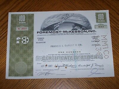 Lot of 30 Foremost McKesson Stock Certificates