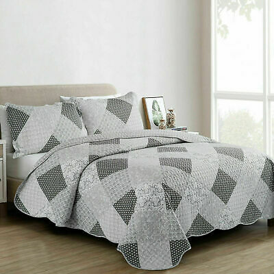 3Piece Patchwork Quilted Comfy Bedspread Bedding Set Embroidered Throws All Size