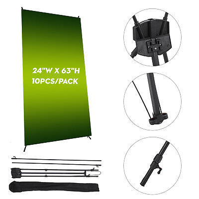"10 PCS X Banner Stand 24"" x 63"" w/ Free Bag Trade Show Display Tripod Commercial"