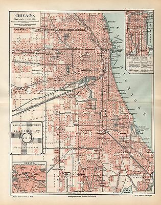 CHICAGO Union Stockyards Washington Park City Map   Stadtplan von 1894