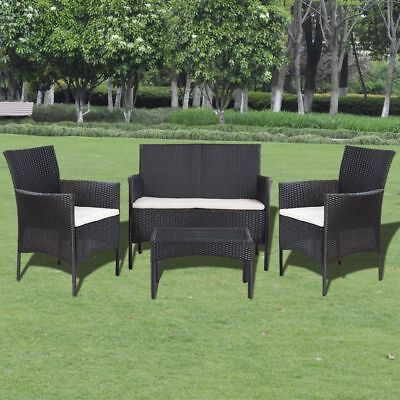 Poly Rattan Garden Furniture Set Table With Bench Sofa & 2 Chairs Outdoor Patio