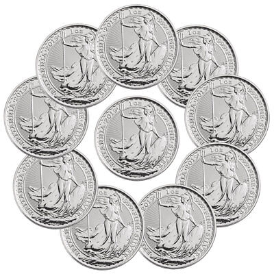 Lot of 10 2019 Great Britain 1 oz Silver Britannia £2 Coins Gem BU SKU55557