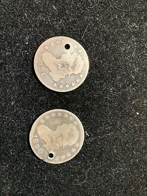 2 pc. 1818 and 1820 25C SILVER LIBERTY  QUARTERS