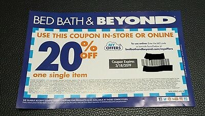 Bed Bath & Beyond Coupon 20% Off One Item Expires 3/18/2019