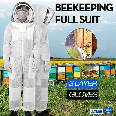 3 Layers Beekeeping Full Suit Astronaut Veil W/ Gloves Cargo Pocket White Apiary