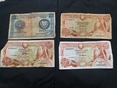 Cyprus Banknotes Lot Of 4