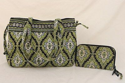 VERA BRADLEY Cambridge Medium Tote Bag Purse + Zip Around Wallet Bundle Retired