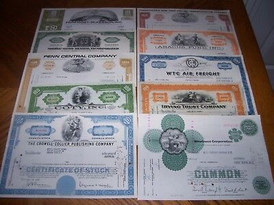 Lot of 10 Different Stock Certificates. TL1