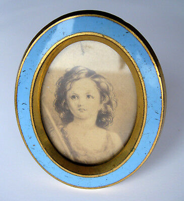 Small Antique 19th Century French Enamel & Brass Oval Photo Frame for Travel?