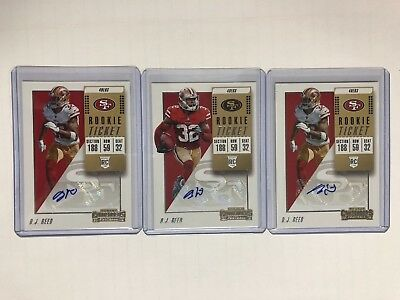 DJ Reed Auto 3 Card Lot Rookie Ticket 2018 Panini Contenders Football 49ers