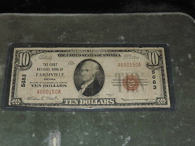 1929 United States 10-Dollar National Currency Note - Farmville, VA