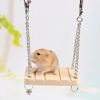 Pet Hamster Mouse Wood Swing Play Toys Small Animal Cage Hanging Seesaw