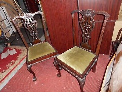 A Pair of ball and claw 1930's Chippendale style dining chairs